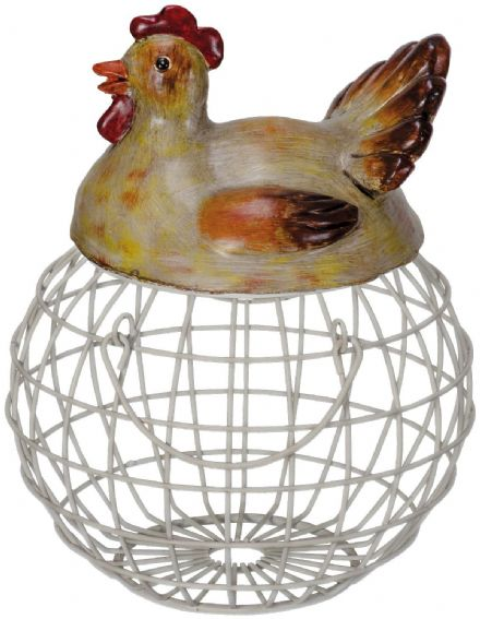 Metal & Resin Nesting Hen Egg Holder ~ Country Kitchen Eggs Storage